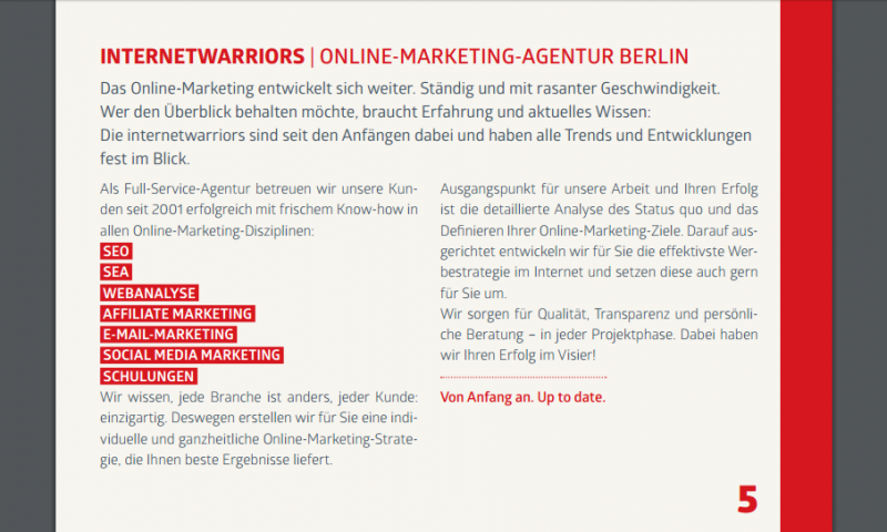 Broschürenseite der Online Marketing Agentur internetwarriors von Ocular Online