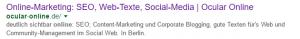 Screenshot von Titel und Description von Ocular Online in den SERPs