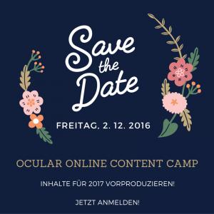 Einladung Ocular Online Content Camp 2016