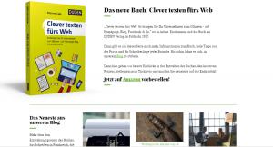 Screenshot Webseite und Blog Clever texten fürs Web